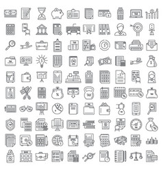 Financial accountant icons set outline style vector