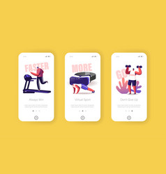 fitness exercising mobile app page onboard screen vector image