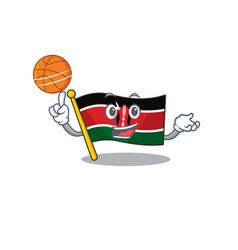 Flag kenya holding basketball cartoon vector