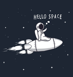 Funny astronaut flying on rocket vector