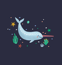 Funny smiling narwhal isolated on dark background vector
