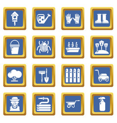 gardener icons set blue square vector image