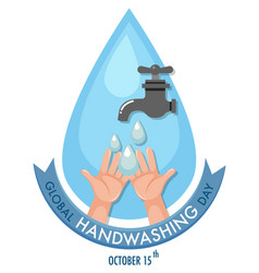 global hand washing day logo with water from tap vector image