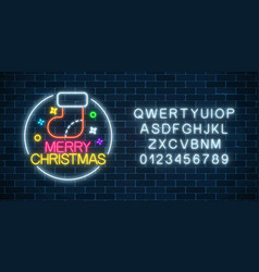 Glowing neon christmas sign with christmas sock vector