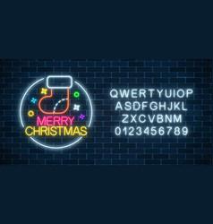 glowing neon christmas sign with christmas sock vector image