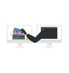 hacker stealing money concept - hand in black vector image