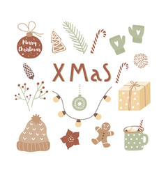 hand drawn christmas design for posters greeting vector image