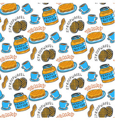 Hand drawn peanut butter seamless pattern vector