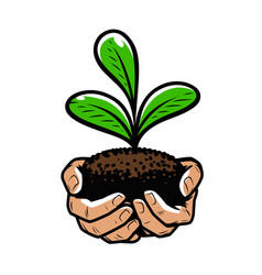 Hands with green sprout nature ecology concept vector