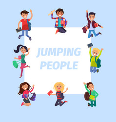 Happy young jumping people banner vector