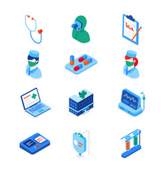 healthcare and medicine - set modern isometric vector image