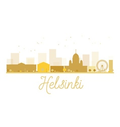Helsinki City skyline golden silhouette vector image