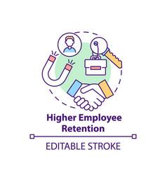 Higher employee retention concept icon vector