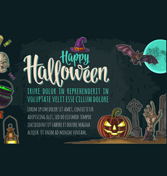 Horizontal poster with halloween party calligraphy vector