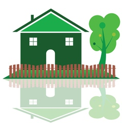 house in green color with tree vector image
