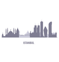 Istanbul cityscape - silhouette of skyline of vector