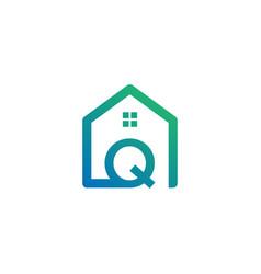 Letter q architect home construction creative vector