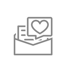 Letter with big heart line icon declaration vector