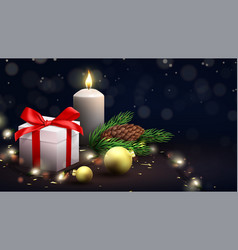 merry christmas and happy new year festive banner vector image