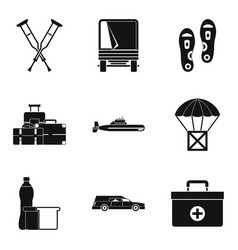 Military crime icons set simple style vector