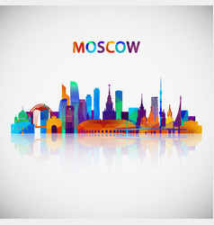 moscow skyline silhouette in colorful geometric vector image