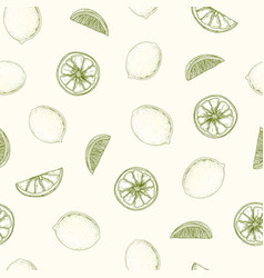 natural seamless pattern with lemons whole and vector image