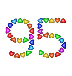 number 95 ninety five of colorful hearts on white vector image