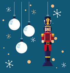 Nutcracker soldier toy with balls of christmas vector