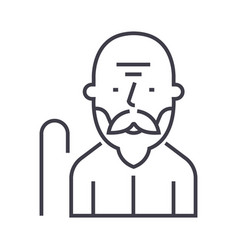 old man line icon sign on vector image