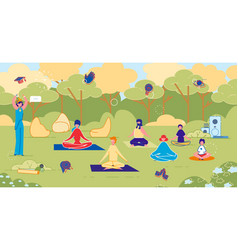 Outdoor yoga class in park fitness training group vector
