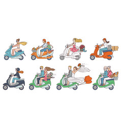 people on scooter bikes - modern transport vector image
