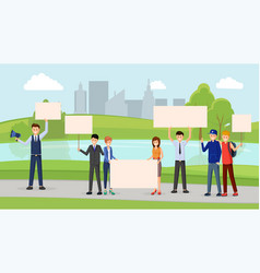Pollution prevention meeting flat vector