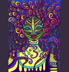 Psychedelic goddess bright colors surreal vector