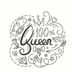 Queen Typography Design Lettering print for t vector image