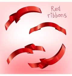 Ribbon curled red c vector