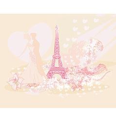 Romantic couple in Paris dancing near the Eiffel vector