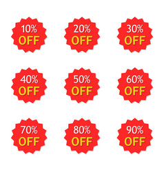 Sale with discount off 10 to 90 percent red vector