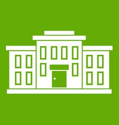 school building icon green vector image