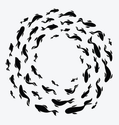 school of fish a group of silhouette fish swim in vector image