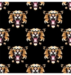 Seamless pattern with tiger head vector