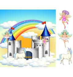 set fairy tale land vector image
