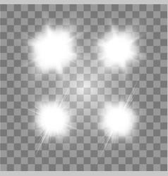 set glowing light effect stars bursts vector image