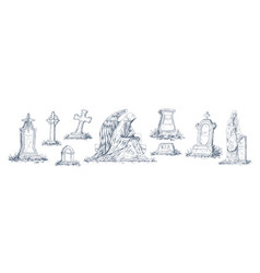 set monochrome tombstones made from stone vector image
