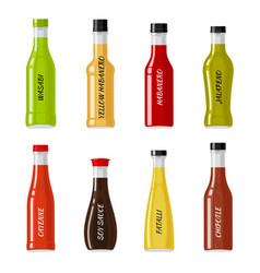 Set of glass bottles full of hot sauces vector