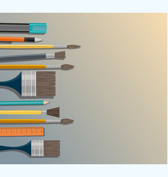 set of paint brush different models of brushes vector image