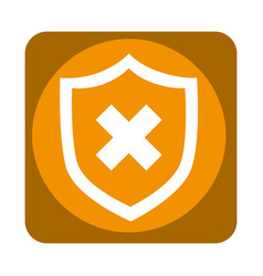 shield with x isolated icon vector image
