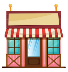 Shop with wooden sign vector