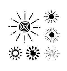 sun icon set black silhouette collection vector image