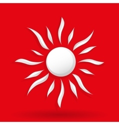Sun on red background vector