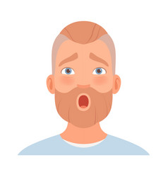 Surprise on face a man with a beard vector